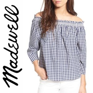 Madewell Smocked gingham off the shoulder blouse
